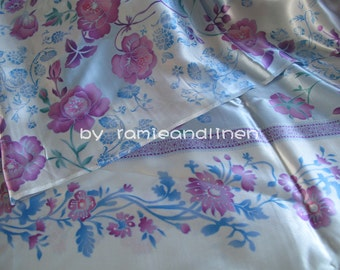 """silk fabric, border print blue and pink flowers on light blue,100% silk crepe satin fabric, Silk Charmeuse Fabric, one yard by 45"""" wide"""