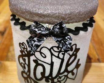 Handmade Frosted Tea Light Jar, Fairy, Valentine