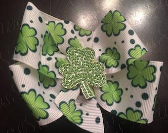 St. Patrick's Day bow w/rhinestone shamrock