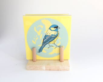 Blue Tit Coasters, Bird Coasters, Handmade Coaster Holder, Drinks Coaster, Housewarming Gift, Mother's Day Gift, Square Coasters