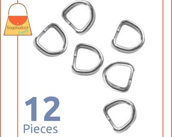 "1/2 Inch D Rings, Nickel Finish, 12 Pieces, Small D Rings, Handbag Purse Bag Making Hardware Supplies, .5 Inch, 1/2"", .5"", RNG-AA022"