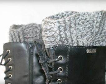 Womens Boot Cuffs, Crochet Boot Toppers, Leg Cuffs, Womens Boot Socks, Gray Boot Cuffs, Womens Leg Warmers, Boot Cuffs, Boot Toppers