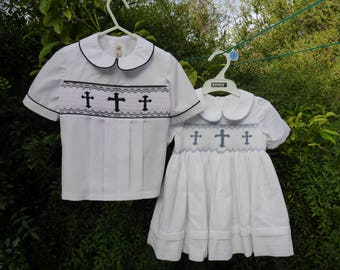 White Smocked Christening dress, hand sewn and hand embroidered with blue smocking, three crosses. Babies Christening, baptism or Easter