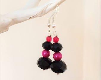 Pink and Black Drop Earrings