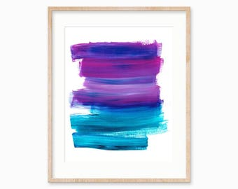 Purple and Blue Brush Strokes, Abstract Art Printable,5 x7, 8 x 10, 11 x 14, Instant Download