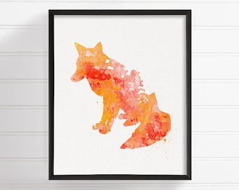 Watercolor Fox Print - Fox Print - Fox Painting - Fox Poster - Nursery Art Print - Woodland, Forest Animals, Fox Wall Decor, Kids Room Decor