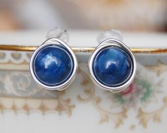 Kyanite Stud Earrings , Blue Gemstone Earrings , Gold Kyanite Earrings