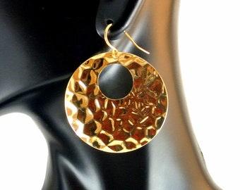 Retro Gold Tone Nubby Dangle Earrings Gold Tone Open Earrings French Hooks Vintage 80 Earrings Hoop Dangles Hoop Earrings
