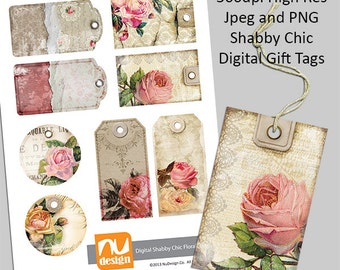 8 Digital Printable Shabby Chic Gift Tags  - 300dpi PNG & Jpeg Files. Great for art and craft projects.
