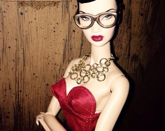 Lipstick RED- Snaps OR Lace Up CUSTOM Bustier for Fashion Royalty, FR2 Dolls Silk Corset