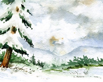 Winter Storm Landscape Painting Original Watercolor