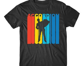Retro 1970's Style Accordion Player Silhouette Music T-Shirt