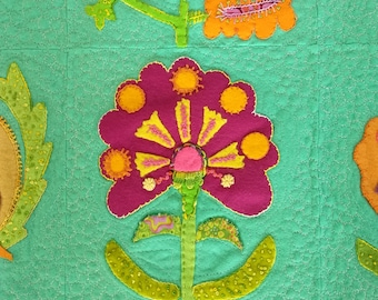 Imperial Blooms Sue Spargo wool applique embroidery handmade 34x34