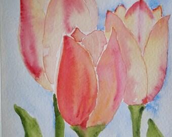 Three Peach Tulips Watercolor Notecard