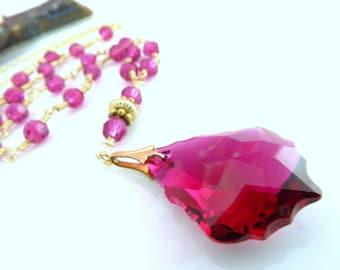 Pink Swarovski crystal fuchsia rosary necklace, Magenta Swarovski crystal rosary Mother's Day necklace, Magenta Anniversary Baroque Necklace