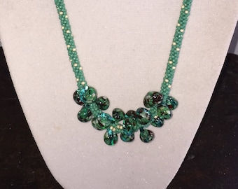 Teal Green, Black & White Drops on Kumihimo - Necklace and Earring Set