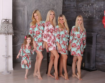 SALE! Free Robe Set of 10+, Bridesmaid Robes, Cotton Floral Robe, Getting Ready Robes, Wedding Robe, Kimono Robe, Bridesmaid Gift