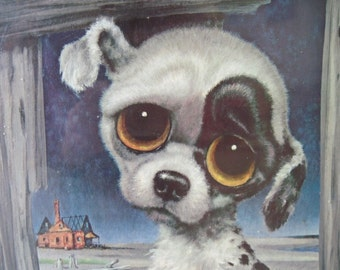 vintage 60s Big Eyed Spotted Puppy on a Sandy Beach Print, gig