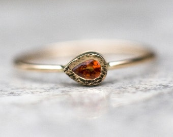Orange Sapphire ring, 14k gold ring, September birthstone, Sapphire Engagement ring, Gemstone ring, Sapphire jewelry, tear drop