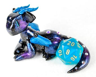 Galaxy dragon dice holder figurine - d20 die guardian - star and space themed polymer clay dragon figurine - Dungeons and Dragons - DnD