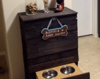 Handcrafted Reclaimed Wood Dog Feeder (with storage!)