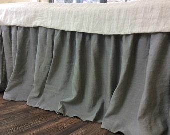 linen bedskirt in MEDIUM GREY,  linen dust ruffles,  shabby chic bedding, Romantic country, Queen bedskirt, Twin bedskirt, King bedskirt