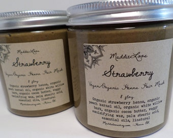 FREE SHIPPING/Vegan/Organic Strawberry Whipped Henna Hair Mask-(golden red color)-gmo free-No PPD-instructions included-8oz.