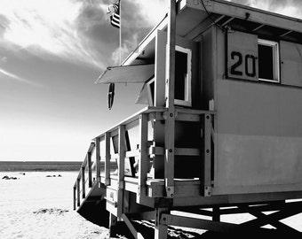 Santa Monica Beach, California, Los Angeles, Lifeguard Station, Sand, Ocean Fine Art Photograph Print Photography Black and White