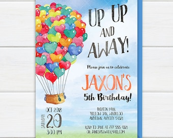 Hot Air Balloon Invitation, Up Up and Away Boy Birthday Party Invite, Party at the Park Colorful Balloons Printable Birthday Invitation