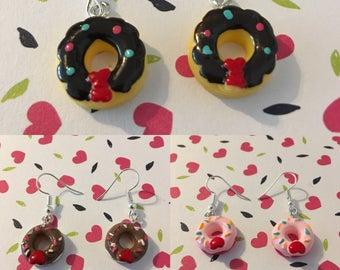 Sweet Donut earrings in pink, black or brown