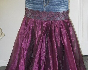 Made to Order Chloé jean skirt purple satin lace bohemian goddess Renaissance Denim Couture