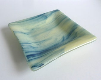 Fused Glass Dish in Streaky French Vanilla and Adventurine Blue by BPRDesigns