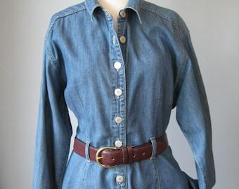 Denim Dress / vtg 90s / Long Sleeve Shirt style rivet buttons denim dress