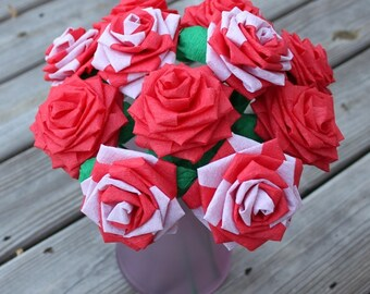 Papers Flower Bouquet  - Dozen (12) Long-stem Red and White