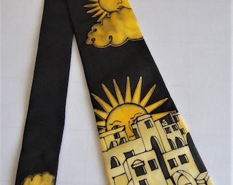 "Hand painted Silk Tie ""Sunny City"""