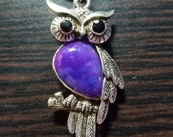 Purple Owl Necklace