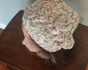 Slouchy Cable Beret - Too Pink