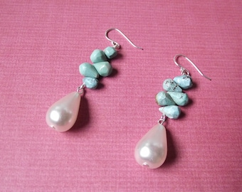 Turquoise Cluster Earrings with Pearl Drops