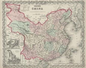 Original 1874 Map of China
