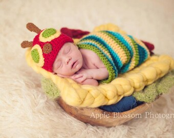 Hungry Caterpillar Inspired Newborn Photo Prop/ Baby Caterpillar Prop/ Newborn Cocoon Prop/Swaddle Sack/ Bug Prop/ Baby Shower Gift