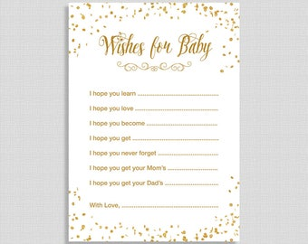 Wishes For Baby Cards, White and Gold Glitter Confetti Baby Shower Activity, DIY Printable, INSTANT DOWNLOAD