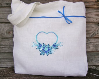 White  Linen Tote Bag with Blue Heart embroidery, Tote bag, Canvas tote bag, Shopping bag, Beach bag, Custom tote bag, Handmade bag, Bags