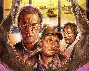 Jaws tribute illustration A3 print