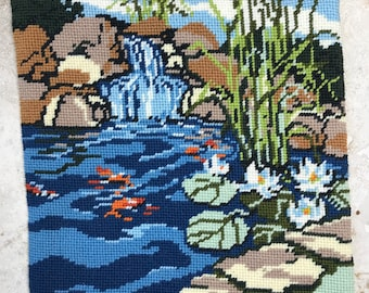 Needlepoint Canvas - Koi Pond - Waterfall - Waterlilies - Ready for Sewing/Framing
