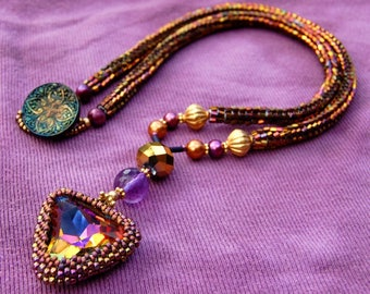 Vintage Bezeled Swarovski Necklace with Woven Seedbeads in Sunset Colors