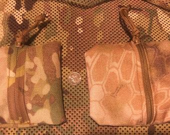 "Small zippered pouch. 1000D codura nylon. 5x5"" multicam camouflage."