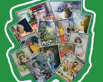 13 Thank You Cards. BUY up to 3 SETS of 13 Vintage Children and Fairies Thank You Tags. 5247