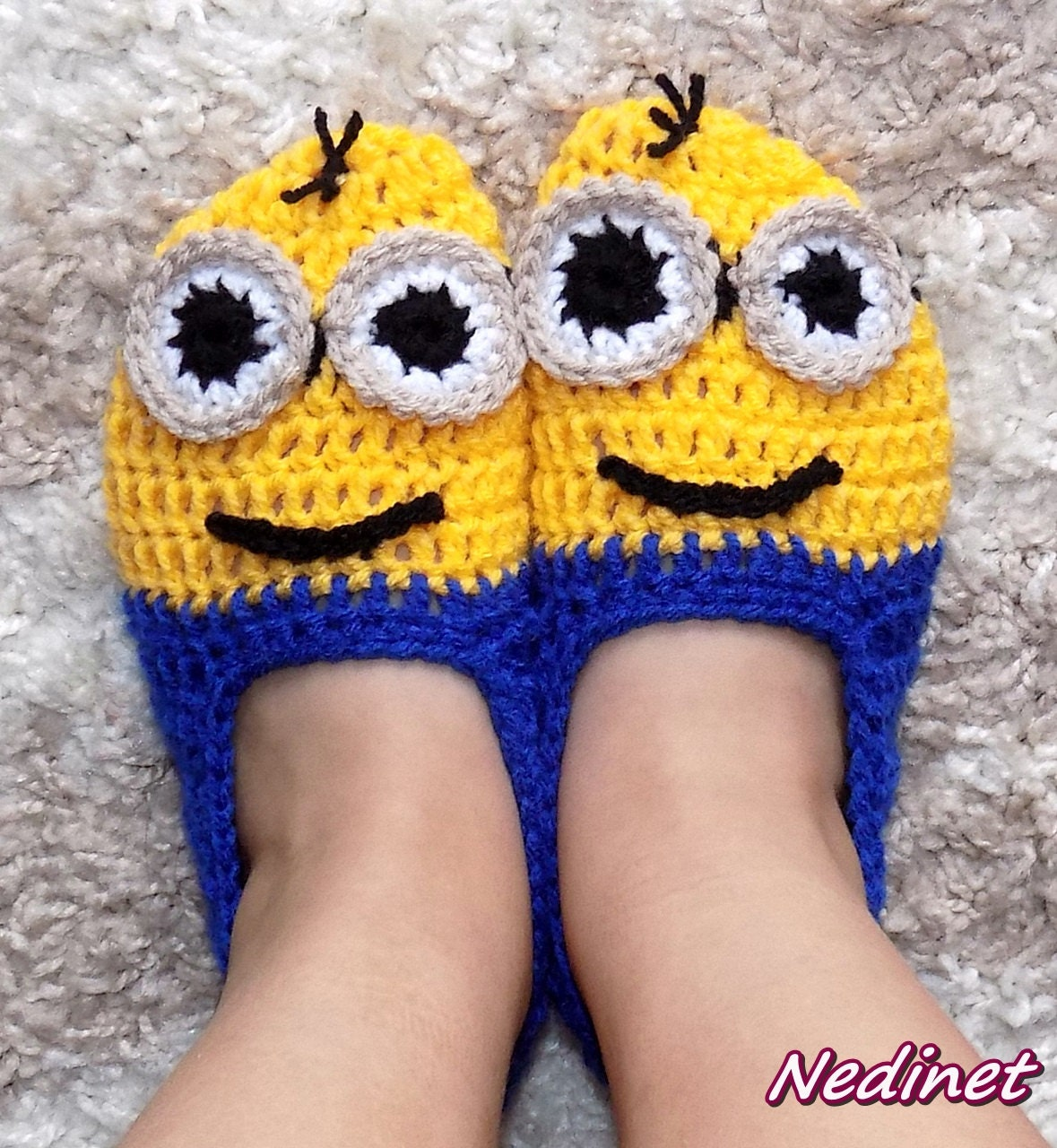 Crochet Minion slippers, INSTANT DOWNLOAD pattern, gru Baby to Adult ...