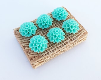 Set of 6 Turquoise Dalia Flower push pins, thumb tacks