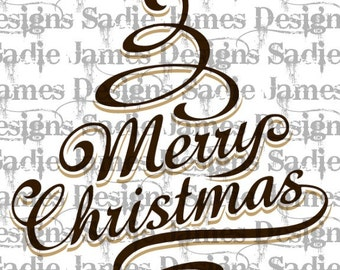 Merry Christmas SVG and Silhouette Studio cutting file, Instant Download